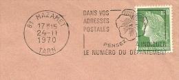 Cover Flamme Meter  Pensez Le Numero Du Departement Mazamet Tarn 24/11/1970 - Post