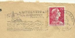 Cover Flamme Meter  Castelnaudary 4/5/1956 Carrefour Tourist Eglise - Kerken En Kathedralen