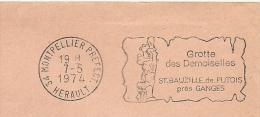 Cover Flamme Meter  Free Postage Grotte Des Demoiselles St. Bauzille De Putois Pres Ganges, Montpellier 7/5/1975 - Vakantie & Toerisme