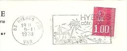 Cover Flamme Meter  HYERES Var 9/1/1978 Cote D'azur Eglise - Vakantie & Toerisme