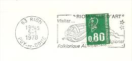 Cover Flamme Meter  Riom Ville D'art Folklorique Auvergne Puy De Dome 5/1/1978 - Kunst