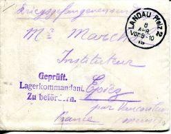 N°43794 -lettre D' Un Prisonnier En Allemagne -départ Landau- - Guerre De 1914-18