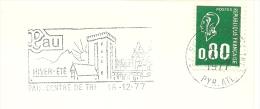 Cover Flamme Meter  Pau, Centre De Tri, 16/12/1977 Hiver Ete Eglise - Kerken En Kathedralen