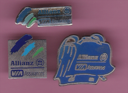 46722-lot De 3 Pin's..Assurance.Allianz. - Bancos