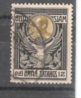 SIAM , 1910 Chulalongkorn1er, Yvert N° 99, 12 S Noir / Olive Obl  ;TB - Siam
