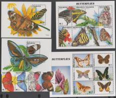 MALDIVES -   1996 Butterflies Strip Of 4, One Sheet Of Six, One Of Eight, &  Two Souvenir Sheets. Scott 2170-2174. M - Maldives (1965-...)