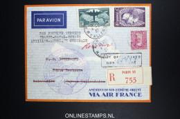 France: Premier Liasions Aerienne  Paris V Natal - Guyane Antilles Hollandaise Surinam   Yv 321 R-lettre - 1927-1959 Storia Postale