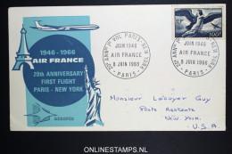 France: 20e Ann. De 1er Vol. Paris New York - Luchtpost