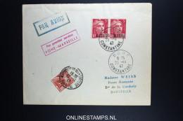 France: Premier Service Bone - Constantine - Marseille 1947 Avec Tax - Poste Aérienne
