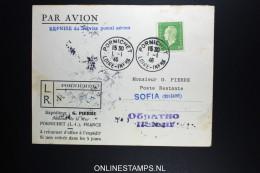France: Reprise Du Service Postal Aérian 1946 Pornichet A Sofia Bulgarie R-lettre - 1927-1959 Covers & Documents