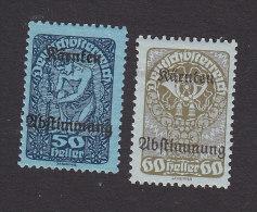 Austria, Scott #B18-B19, Mint Hinged, Austrian Stamp Overprinted, Issued 1920 - Unused Stamps