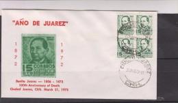 O) 1972 MEXICO, PRESIDENT BENITO JUAREZ, 50-75, PERMANENT SET, FDC XF