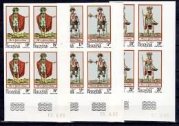Polynésie Française  202 204 Gravures Costumes Anciens Non Dentelés Bloc De 4 Coin Daté 6 83 Neuf ** TB MNcote Maury 110 - Non Dentelés, épreuves & Variétés