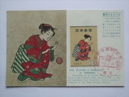 JAPAN 1957 PHILATELIC WEEK FIRST DAY POSTCARD WITH ILLUSTRATION GIRL PLAYING A HAND-BALL BY HARUNOBU - 1926-89 Emperor Hirohito (Showa Era)