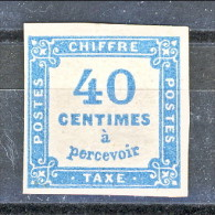 Timbre Tax, 1871-78, Y&T N. 7 C. 40 Azzurro, Tipografica, MH - Taxes