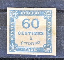 Timbre Tax, 1871-78, Y&T N. 9 C. 60 Azzurro, Tipografica, MH - Taxes