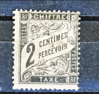 Chiffre Taxe 1881-92, Tipo Duval, Y&T N. 11 C. 2 Nero Dentellato MH - Taxes