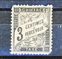 Chiffre Taxe 1881-92, Tipo Duval, Y&T N. 12 C. 3 Nero Dentellato, Denti Corti, MH - Taxes