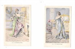 7936 - 2 CPA Illustrateur MULLER, : Le Peignoir Antique Et Watteau, érotisme, - Mueller, August - Munich