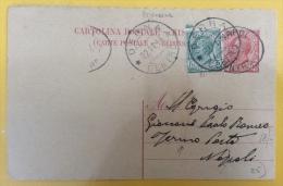 COLONIE ITALIANE - INTERO POSTALE RISPOSTA 10+5 C. DA DERNA CENTRO A NAPOLI FERMO POSTA - 1914 - Eritrea