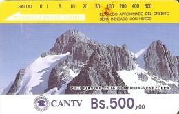 TARJETA DE VENEZUELA DE Bs.500 DEL PICO BOLIVAR ESTADO DE MERIDA (DETRAS SOLO RAYAS) - Venezuela