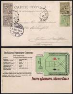 MONACO - CASINO - JEU / 1904 CARTE POSTALE POUR L ALLEMAGNE (ref 6524) - Spielbank