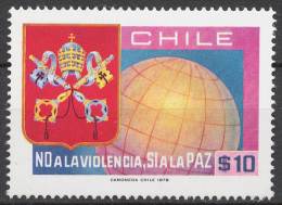 Chile 887** WORLD PEACE DAY, PAPAL ARMS AND GLOBE - Chile