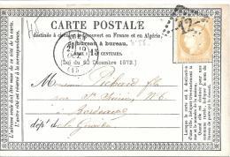 CARTE PRECURSEUR..  N°55  D´AGEN   à  BORDEAUX TBE..1875..  TBE.  SCAN - 1701-1800: Voorlopers XVIII