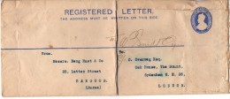 Lettre Timbrée - INDIA REGISTRATION TWO ANNAS POSTAGE HALFANNA - Inde