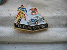Pin's C.S.M Moto Cross, Voiture Rallye à STEIGE En Alsace - Motorbikes