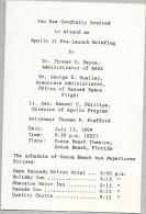 APOLLO 11 PRELAUNCH BRIEFING INVITATION And POST CARD - Briefe U. Dokumente