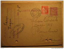 1933 Paris Rennes To Barcelona España Spain Espagne Entero Postal Stationery Entier Postaux France - Postales Tipos Y (antes De 1995)