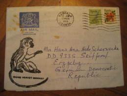 Kampala 1973 To Seiffen Erzgebg ? Germany Monkey 2 Stamp On Aerogramme Air Mail Letter Uganda Africa - Uganda (1962-...)
