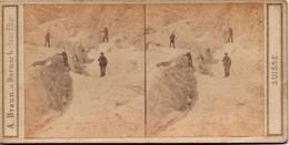 PHOTO STEREO A. BRAUN. A DORNACH (Ht RHIN) SUISSE N° 3299 OBERLAND BERNOIS. SAUVETAGE DU GUIDE JEAN-MICHEL 1863 - Photos Stéréoscopiques