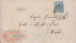 G)1915 PERU, JOSE DE LA MAR 12 CTS., CERTIFICATED, CIRCULATED COVER FROM LIMA TO MEXICO, XF - Peru