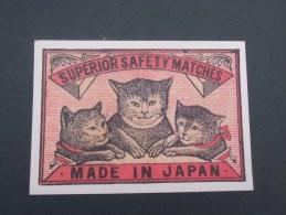 Trois Tetes De Chat  (superior Safety Matches )made In Japan ) Mis Sur étiquette De Boite D'allumettes Japonaise Debut D - Cats