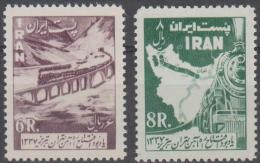 IRAN - 1958 Railways - Trains. Scott 1103-4. Mint Lightly Hinged * - Iran