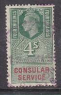 Great Briain, George VI Revenue:  4/= CONSULAR SERVICE Used - Revenue Stamps
