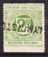 Great Briain, LONDON & SOUTH WESTERN RAILWAY, 2d, SINGLE POST LETTER,  Used LYMINGTON - Cinderellas