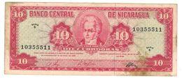 Nicaragua 10 Cordobas 1968 XF (stains) . RARE! Free Ship. To USA - Nicaragua