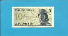 INDONESIA - 10 SEN - 1964 - P 92 - UNC. - Série DAO - Female Volunteer In Uniform - 2 Scans - Indonésie
