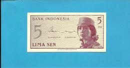 INDONESIA - 5 SEN - 1964 - P 91 - UNC. - Série ASY - Female Volunteer In Uniform - 2 Scans - Indonésie