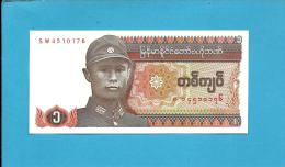 MYANMAR ( Old BURMA )- 1 KYAT -  ND (1990 ) - P 67 - UNC. - Serie SW - 2 Scans - Myanmar