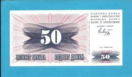 BOSNIA & HERZEGIVINA - 50 DINARA - 1992 - Pick 12 - UNC. -  Prefix HE - Narodna Banka Bosne I Hercegovine - Bosnia Erzegovina