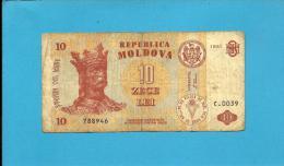 MOLDOVA - 10 LEI - 1995 - Pick 10 - Serie C.0039 - Republica - Moldova