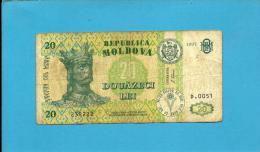 MOLDOVA - 20 LEI - 1997 - Pick 13 - RARE - Serie D.0051 - Republica - Moldova