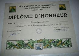 DIPLOME D'HONNEUR CHEMINOTS FRANCAIS   1956 - Francia