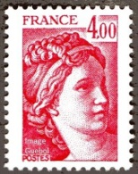 France Sabine De Gandon N° 2122 ** Le  4.00 Fr. Carmin - 1977-81 Sabine Van Gandon