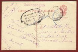 COLONIE ITALIANE -CARTOLINA POSTALE MILITARE DA TRIPOLI D'AFRICA A ZONA DI GUERRA - 1917 -  VARI TIMBRI - INTERESSANTE - Tripolitania