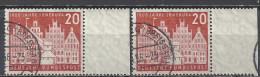 Deutschland BRD 1956 Mi 230 X2 Vom Rechten Rand, 20 Pfg., Gestempelt, 1000 Jahre Lüneburg, Sc. 741 / Yv. 106 - Used Stamps